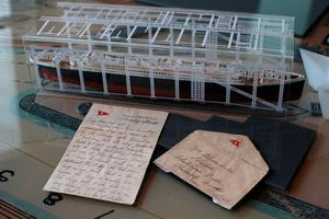 The last letter ever to be written on board the Titanic, which sold at auction recently for a world record sum of £119,000, at Titanic Belfast. Niall Carson/PA Wire