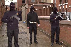 An armed UVF gang on the Shankill Road in 2000
