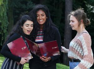 Press Eye Belfast - Northern Ireland 17th August 2017 Pupils at Victoria College in South Belfast revive their A Level results. Picture by Jonathan Porter/PressEye.com