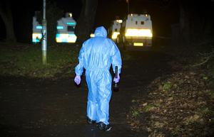 Police officers arrive at the scene of a punishment shooting in the Pembroke Loop road area of Poleglass, west Belfast on December 23rd 2017 (Photo by Kevin Scott / Belfast Telegraph)