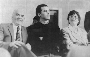 The Maguire family, jailed in 1976 for allegedly running an IRA bomb factory, at the start of the Judicial hearing into their conviction. From left, Patrick Maguire, their son also Patrick Maguire and Mrs Anne Maguire.  21/5/1990 BELFAST TELEGRAPH ARCHIVE