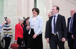 Arlene Foster from DUP with party colleagues  pictured at Parliament Buildings, Stormont.  Photo by Kelvin Boyes  / Press Eye.