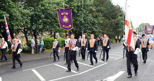 PACEMAKER BELFAST  13/07/2015 12th July celebrations in Derriaght/Dunmurry today Lisburn District LOL No 6 with Jeffery Donaldson arrive at Field in Dunmurry