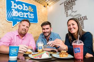 Pictured are Gemma Hamilton, an investor from BGF's Northern Ireland team with Bob & Berts' owners Colin McClean (left) and David Ferguson (right).