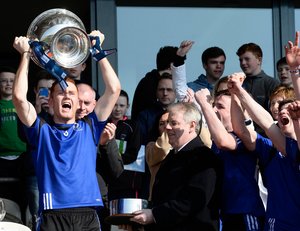 Raring to go: St Patrick's captain Conor Glass, pictured with the MacRory Cup, will feature in the Hogan Cup final