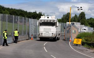 A water Cannon leaves  a security check point near the Lough Erne resort in County Fermanagh the venue for next weeks G8 Summit. PRESS ASSOCIATION Photo. Picture date: Wednesday June 12, 2013. See PA story ULSTER G8. Photo credit should read: Paul Faith/PA Wire
