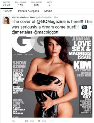 Grab taken from the Twitter feed of Kim Kardashian who has stripped off for the cover of the US edition of GQ magazine.  Kim Kardashian/PA Wire