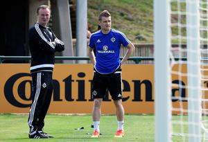 "Tuesday, June 7 The Northern Ireland players had their first training session in France yesterday at the picturesque Saint-Georges-de-Reneins. It's a cracking spot, 40 minutes from Lyon, with a carpet of a pitch and high class facilities.  Manager Michael O'Neill (right) joked: ""It's a bit different from Chimney Corner!"" which was one of his first training bases as a Northern Ireland player."