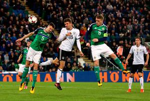 Germany's Thomas Muller (centre) heads at goal during the 2018 FIFA World Cup Qualifying, Group C match at Windsor Park, Belfast. PRESS ASSOCIATION Photo. Picture date: Thursday October 5, 2017. See PA story SOCCER N Ireland.Brian Lawless/PA Wire.