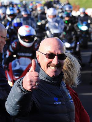 Robert Dunlop's mechanic, Liam Beckett was amongst the crowd as several thousand bikers turned out on the North coast tonight to mark the tenth anniversary of the Ballymoney road racer's death.