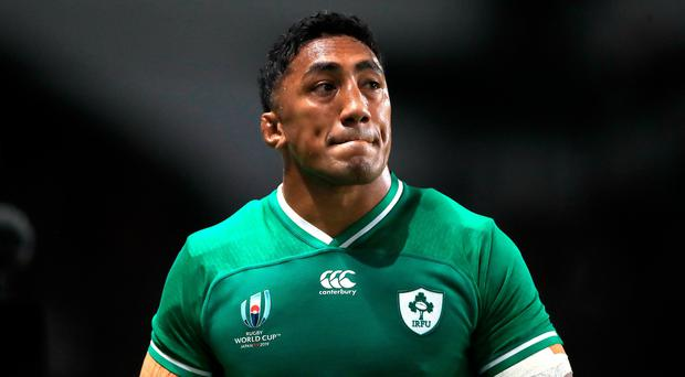 Ireland's Bundee Aki leaves the field after his red card.