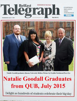 Mandatory Credit - Picture by Freddie Parkinson/Press Eye ? Wednesday 8th July 2015 Graduations Queen University Belfast. Natalie Goodall from Larne graduated at Queens University Belfast in Social Work.