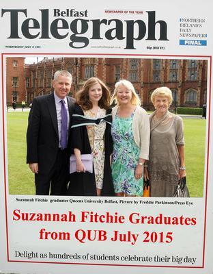 Mandatory Credit - Picture by Freddie Parkinson/Press Eye ? Wednesday 8th July 2015 Graduations Queen University Belfast. Suzannah Fitchie from Belfast graduated at Queens University Belfast in Social Work.