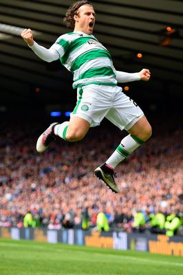 GLASGOW, SCOTLAND - APRIL 17:  Erik Sviachenko of Celtic celebrates after scoring their first goal during the William Hill Scottish Cup semi final between Rangers and Celtic at Hampden Park on April 17, 2016 in Glasgow, Scotland.  (Photo by Jeff J Mitchell/Getty Images)