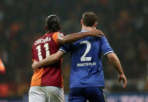 Former Chelsea star, Didier Drogba of Galatasaray, left, and Branislav Ivanovic