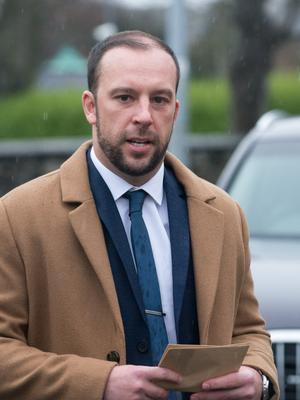 Davitt Walsh arrives at the at the Lake of Shadows Hotel where the inquest is taking place into the Buncranna Pier tragedy. Picture Martin McKeown. Inpresspics.com. 22.11.17