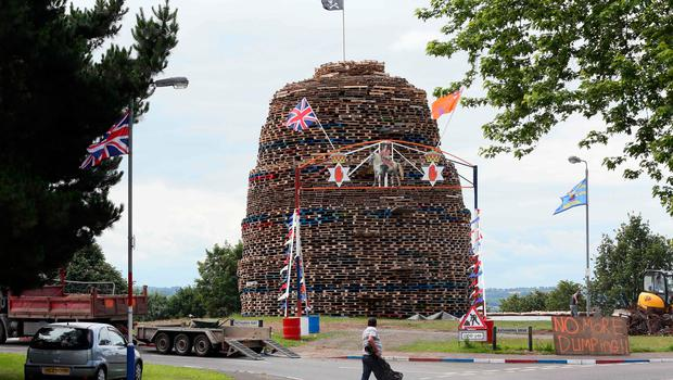 A bonfire is pictured in the Ballymacash area of Lisburn. [Photo: Paul Faith/AFP/Getty Images]