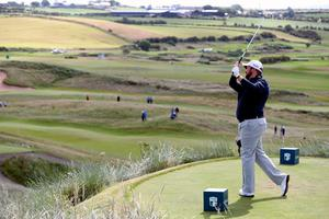 Ireland's Shane Lowry on the eighth during day three of the Dubai Duty Free Irish Open at Portstewart Golf Club. Niall Carson/PA Wire.