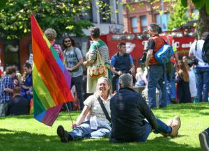 Picture - Kevin Scott / Presseye  Saturday 13th June 2015 -  Amnesty International March for Equality  Pictured is the Amnesty International March for Equality as it makes its way through Belfast City Centre.    Picture - Kevin Scott / Presseye