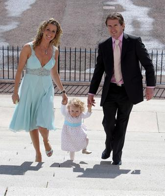 Horse Racing - Tony McCoy Reception - Stormont...Jockey Tony McCoy arrives with his wife Chanelle and daughter Eve for the reception in his honour at Stormont, County Antrim. PRESS ASSOCIATION Photo. Picture date: Monday August 10, 2009. The 35-year-old celebrated 3000 National Hunt race wins earlier this year. Tony McCoy has won every major race in the sport except the Grand National and is widely regarded as the greatest jump jockey of all time. Photo credit should read: Paul Faith/PA Wire....S