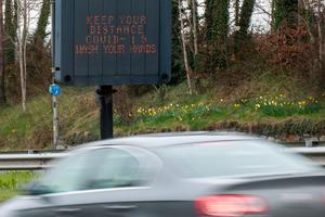 A traffic sign at Crescent Link in Londonderry