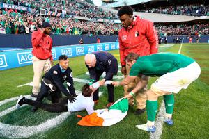 CHICAGO, IL - NOVEMBER 05:  An Ireland fan is apprehended by security as he attempts to celebrate with Jamie Heaslip of Ireland during the international match between Ireland and New Zealand at Soldier Field on November 5, 2016 in Chicago, United States.  (Photo by Phil Walter/Getty Images)