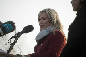 The Funeral of former Sinn Fein leader and deputy First Minister Martin McGuinness in the Bogside in Derry this afternoon. Pictured is Sinn Fein's Michelle O'Neill. Image: Pacemaker