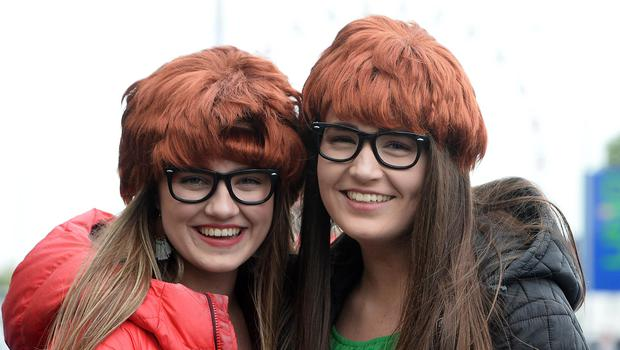 Pacemaker Press 09/05/2018 Ed Sheeran fans From L-R Amy Turner and Emma Martin    at Boucher Road in Belfast on Wednesday evening,   with  around  42,000 people expected at Boucher playing fields for the Ed  Sheeran Concert. Photo  Pacemaker Press