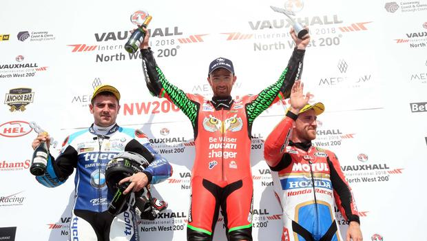 PACEMAKER BELFAST  19/05/2018 North West 200 2018 Glenn Irwin celebrates victory in todays Merrow Hotel & Spa NW 200 Superbike race in the Vauxhall International North West 200. Michael Dunlop 2nd and Lee Johnston 3rd Photo Stephen Davison/Pacemaker Press