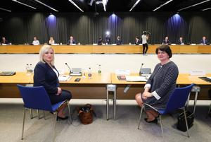 First Minister Arlene Foster and deputy First Minister Michelle O'Neill pictured at the meeting of the North South Ministerial Council at Dublin Castle. Photo by Kelvin Boyes / Press Eye.