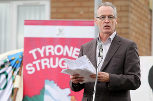 Gerry Kelly speaking at the Tyrone Commemoration Parade in Castlederg last summer