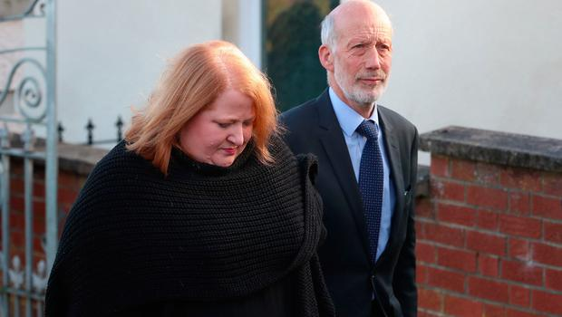 Naomi Long and David Ford attend the funeral of Seamus Mallon, the former deputy first minister of Northern Ireland, at Saint James of Jerusalem Church in Mullaghbrack, Co Armagh. PA Photo. Picture date: Monday January 27, 2020. See PA story FUNERAL Mallon. Photo credit should read: Liam McBurney/PA Wire
