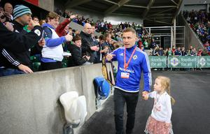 Picture - Kevin Scott / Press Eye  Carl Frampton with his daughter Carla   Belfast - Northern Ireland - 8th October 2016 - The National Football Stadium at Windsor Park Opening Game and Ceremony Northern Ireland vs San Marino 2018 FIFA World Cup Qualifier  Photo by Kevin Scott  / Press Eye
