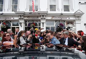 Irish musician Bono leaves Finnegan's Pub in Dalkey where he had lunch with the US First Lady Michelle Obama and his wife Ali. PRESS ASSOCIATION Photo. Picture date: Tuesday June 18, 2013. See PA story POLITICS G8 Michelle. Photo credit should read: Julien Behal/PA Wire