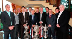 Memories: Stevie Cowan (right) and other Portadown legends at a gala dinner in the Seagoe Hotel in 2011 to celebrate the 20th anniversary of the double
