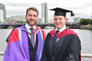 Graduating from Ulster University today is Michael Jennings, with a Masters of Electronics and German Masters Degree. Pictured with Michael is Professor Colin Turner. Photo by SImon Graham Pjhotography