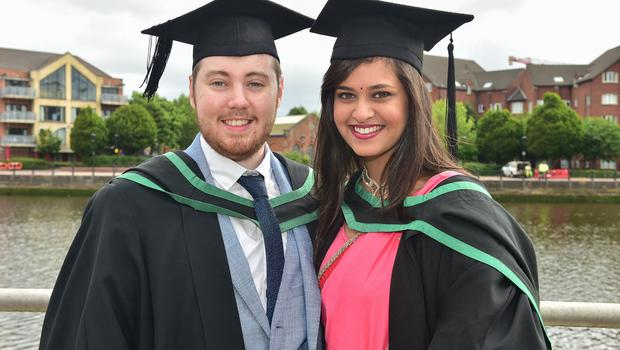 Graduating from Ulster University today are Andrew Neville and Apoorva Kashyap, with a degree in Medical Engineering. Photo by SImon Graham Photography