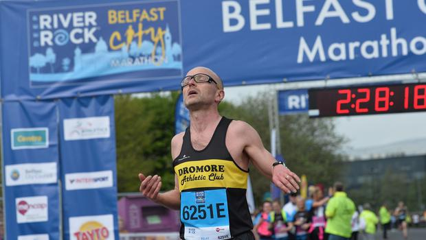 Pacemaker Press 7/5/2018  Runners at the Finish line at the  River Rock Belfast City Marathon 2018 , on May Bank holiday Monday, with thousands of participants taking part in the Marathon , relay and fun runners. Pic Colm Lenaghan/Pacemaker