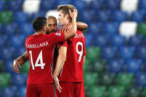 Norway's Erling Braut Haaland, right, with his teammates, celebrates his goal against Northern Ireland during the UEFA Nations League soccer match between Northern Ireland and Norway at Windsor Park, Belfast, Northern Ireland, Monday Sept. 7, 2020. (AP Photo/Peter Morrison)