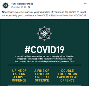 A post on the PSNI Carrickfergus Facebook page advising people to exercise near their homes.