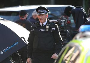 Actor Adrian Dunbar who plays Superintendent Ted Hastings is seen during Line of Duty filming off Beechmount Avenue in West Belfast. Photo by Peter Morrison
