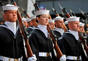 The US Navy Marching Band walks on 5th Avenue during the 255th New York City St Patrick's Day Parade on March 17, 2016. / AFP PHOTO/AFP/Getty Images