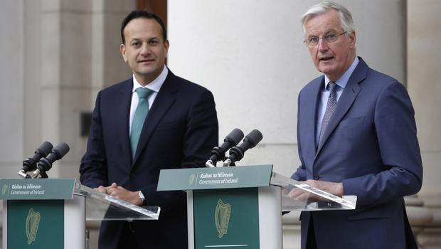 Leo Varadkar (left) and Michel Barnier during a press conference outside Government Buildings in Dublin (Damien Eagers/PA)