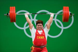 RIO DE JANEIRO, BRAZIL - AUGUST 14:  Suping Meng of China competes during the Weightlifting - Women's +75kg Group A on Day 9 of the Rio 2016 Olympic Games at Riocentro - Pavilion 2 on August 14, 2016 in Rio de Janeiro, Brazil.  (Photo by Laurence Griffiths/Getty Images) *** BESTPIX ***