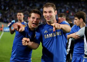 Chelsea's Cesar Azpilicueta (left) and Branislav Ivanovic celebrate after winning the UEFA Europa League Final at the Amsterdam Arena, Amsterdam, Holland. PRESS ASSOCIATION Photo. Picture date: Wednesday March 15, 2013. See PA story SOCCER Chelsea. Photo credit should read: Nick Potts/PA Wire. RESTRICTIONS: Use subject to restrictions. Editorial use only when not based solely on any team and/or any player(s) and/or devoted to the UEFA Europa League. No commercial use. Call 44 (0)1158 447447 for further information.