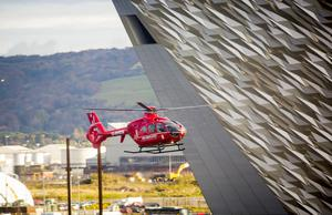 The Northern Ireland Air Ambulance takes its first flight in Belfast on November 9th 2016, Northern Ireland (Photo by Kevin Scott / Belfast Telegraph)