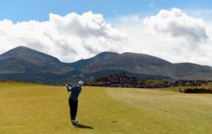 NEWCASTLE, NORTHERN IRELAND - MAY 29:  Martin Kaymer of Germany hits his 2nd shot on the 5th hole during the Second Round of the Dubai Duty Free Irish Open Hosted by the Rory Foundation at Royal County Down Golf Club on May 29, 2015 in Newcastle, Northern Ireland.  (Photo by Ross Kinnaird/Getty Images)