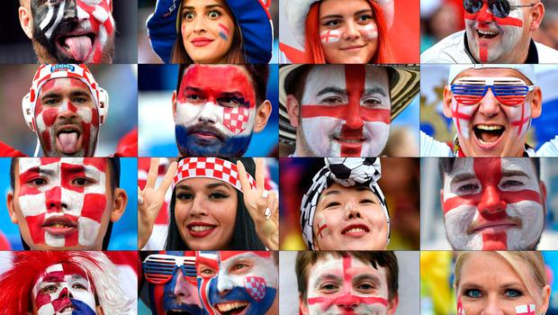 TOPSHOT - (COMBO) This combination of photos created on July 9, 2018 shows Croatia and England's fans supporting their team during the Russia 2018 World Cup football tournament.  Croatia and England will face each other on July 11, 2018 in Moscow for the Russia 2018 World Cup semi-final football match.  / AFP PHOTO / --/AFP/Getty Images