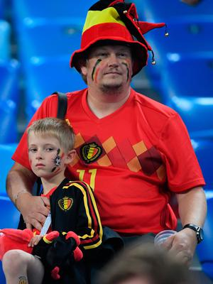 SAINT PETERSBURG, RUSSIA - JULY 10:  Belgium fans look dejected following their's team defeat in the 2018 FIFA World Cup Russia Semi Final match between Belgium and France at Saint Petersburg Stadium on July 10, 2018 in Saint Petersburg, Russia.  (Photo by Laurence Griffiths/Getty Images)