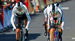 Making gains: Chris Froome (l)